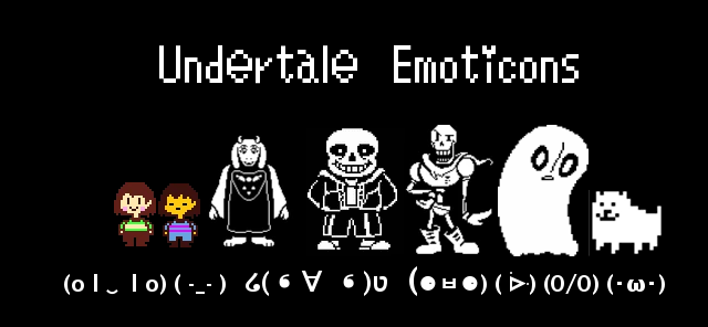 Undertale characters as emoji/emoticons/kaomoji for roleplaying and texting